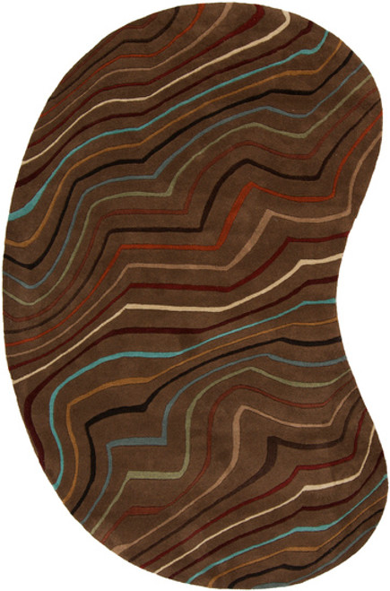 8' x 10' Blue and Red Contemporary Kidney Wool Area Throw Rug - IMAGE 1