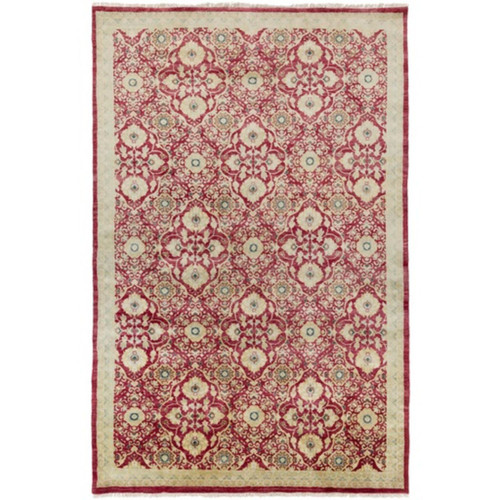 3.5' x 5.5' Royal Garden Cherry Red and Sandy Beige Area Throw Rug - IMAGE 1