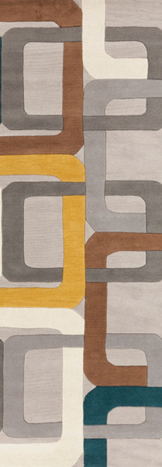 2.5' x 8' Gray and Brown Hand Tufted Rectangular Wool Area Throw Rug Runner - IMAGE 1