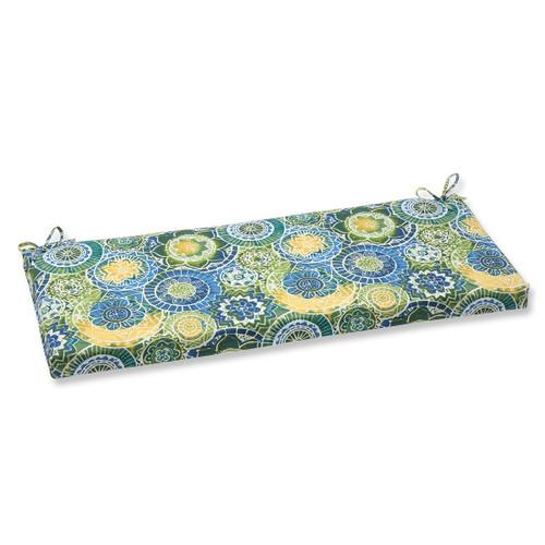 "45"" Laguna Mosaico Blue, Green and Yellow Outdoor Patio Bench Cushion - IMAGE 1"
