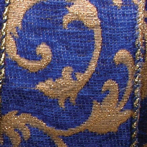 """Blue and Gold Frederic Craft Ribbon 2.5"""" x 20 Yards - IMAGE 1"""