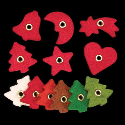 """Club Pack of 288 Red Tree, Bell, Star, Moon, Heart, Shooting Star Felt Pieces 1"""" - IMAGE 1"""