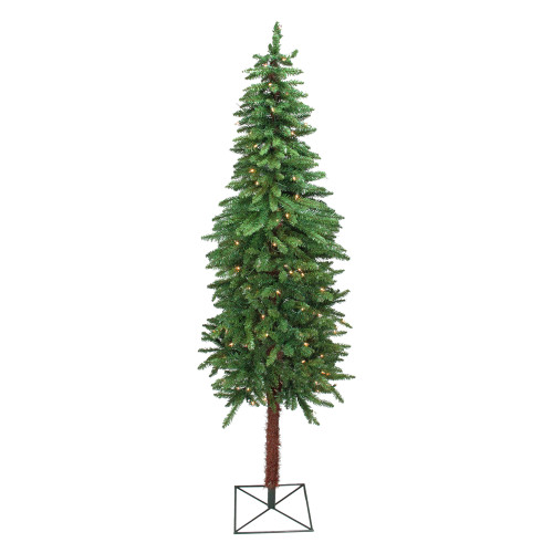 7' Pre-Lit Slim Two-Tone Alpine Artificial Christmas Tree - Clear Lights - IMAGE 1