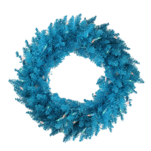 Pre-Lit Sky Blue Ashley Spruce Christmas Wreath - 48-Inch, Blue Lights - IMAGE 1