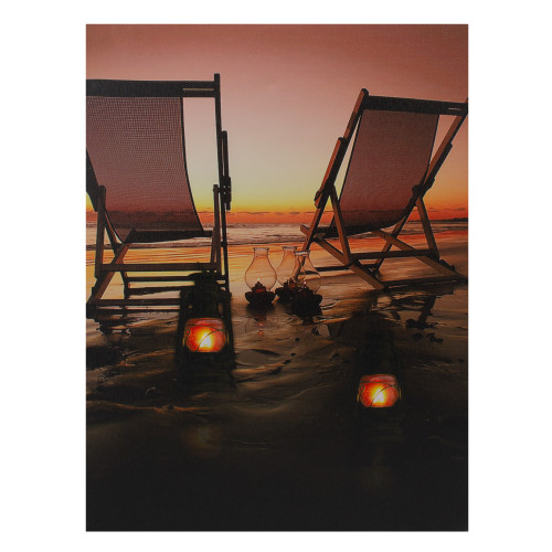 """LED Lighted Sunset Beach Chairs with Lanterns Canvas Wall Art 15.75"""" - IMAGE 1"""
