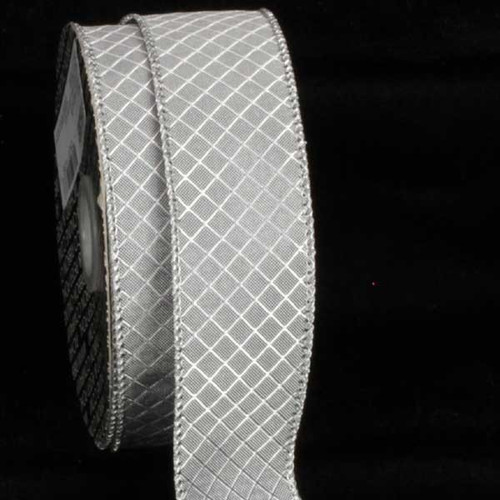 """Silver Piazza Printed Wired Craft Ribbon 1.5"""" x 80 Yards - IMAGE 1"""