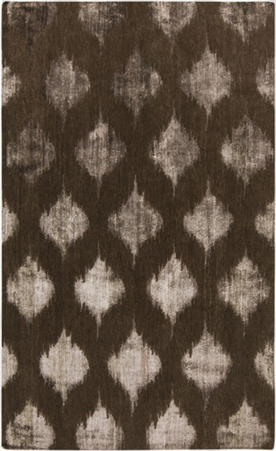 2' x 3' Ethereal Fence Brown Hand Knotted Rectangular Area Throw Rug - IMAGE 1
