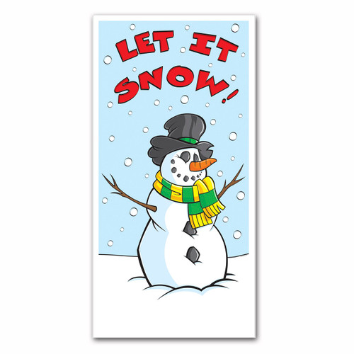 """Club Pack of 12 Blue and Red """"LET IT SNOW"""" Winter Wonderland Christmas Door Covers 5' - IMAGE 1"""