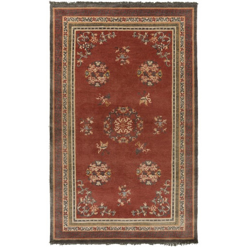 2' x 3' Scattered VInes Orange and Yellow Rectangular Wool Area Throw Rug - IMAGE 1