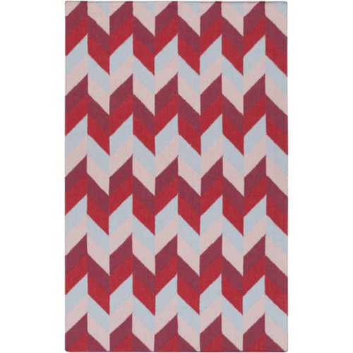 5' x 8' Incredible Talitha Cherry Red and Gray Hand Woven Rectangular Area Throw Rug - IMAGE 1