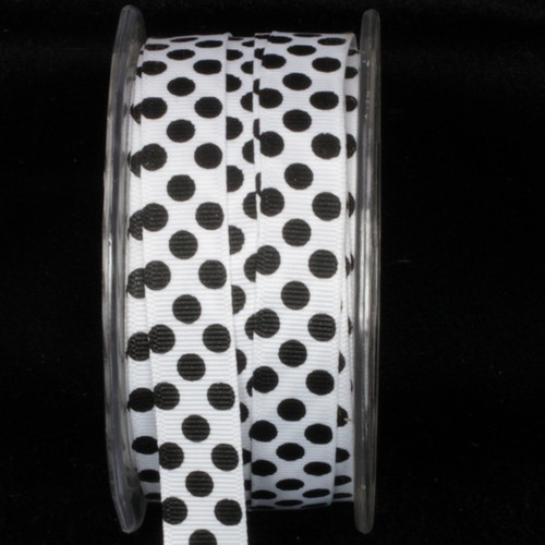 "Black and White Polka Dot Wired Craft Ribbon 0.5"" x 108 Yards - IMAGE 1"