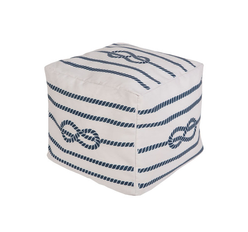 "18"" Cobalt Blue and Ivory Knotted Rope Square Outdoor Patio Pouf Ottoman - IMAGE 1"