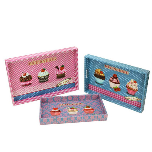 """Set of 3 Pink and Blue """"PATISSERIE"""" Rectangular Serving Trays 19"""" - IMAGE 1"""