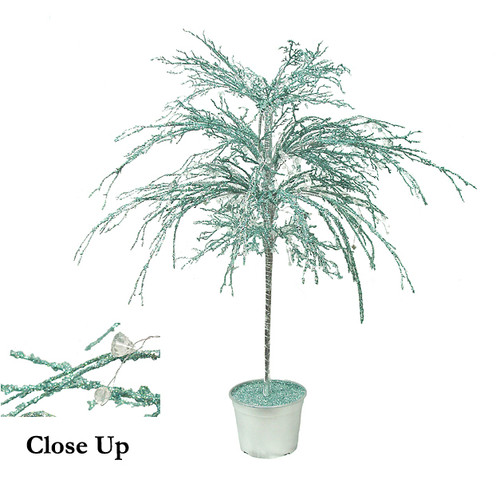 3.75' Teal and Silver Crystallized Glitter Potted Holiday Tree - Unlit - IMAGE 1