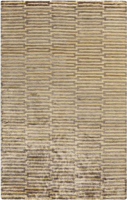 5' x 8' Yellow and Brown Hand-Knotted Area Throw Rug - IMAGE 1