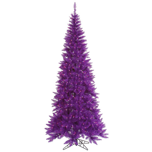 14' Pre-Lit Slim Purple Ashley Spruce Artificial Christmas Tree - Clear and Purple Lights - IMAGE 1