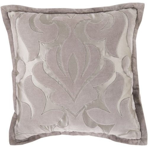 """20"""" Gray Contemporary Floral Square Throw Pillow - IMAGE 1"""