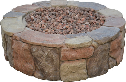 "36"" Gas Outdoor Patio Stacked Stone Round Fire Pit - IMAGE 1"
