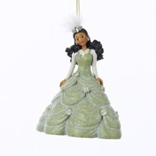 "5"" Green Pretty As a Princess Kayla Gown Black Hair Christmas Ornament - IMAGE 1"