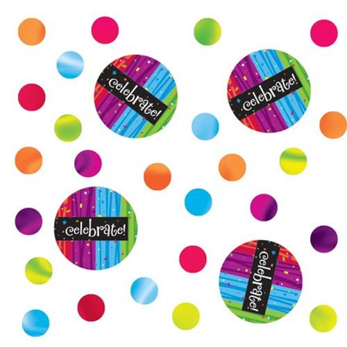 "Club Pack of 12 Blue and Pink Milestone ""Celebrate!"" Celebration Confetti Bags 0.5 oz. - IMAGE 1"