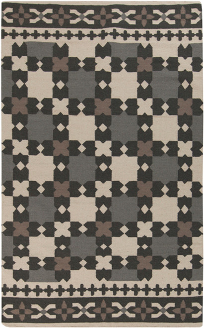 2' x 3' Ornate Gray and Beige Hand Woven Wool Area Throw Rug - IMAGE 1