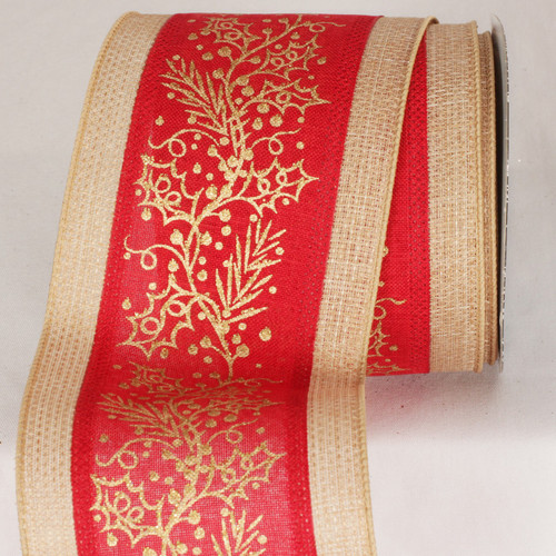 "Caramel Brown and Red Christmas Mistletoe Wired Craft Ribbon 4"" x 10 Yards - IMAGE 1"