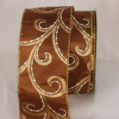 "Brown and Gold Swirly Whirl Wired Craft Ribbon 2.5"" x 40 Yards - IMAGE 1"