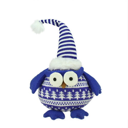 """12"""" Blue Owl with Striped Hat Christmas Tabletop Figurine - IMAGE 1"""
