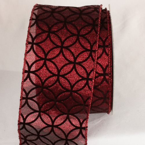 """Sheer Black and Red Wired Craft Ribbon 4"""" x 20 Yards - IMAGE 1"""