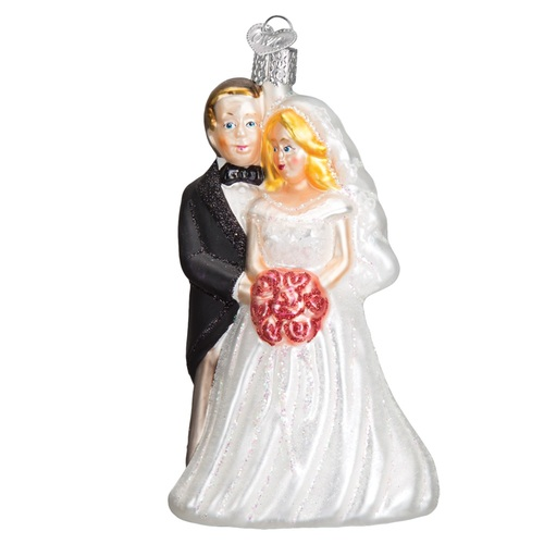 "5"" Black and White Bridal Couple Christmas Ornament - IMAGE 1"