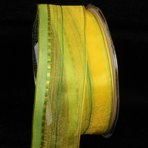 """Yellow and Green Pinstriped Wired Craft Ribbon 1.5"""" x 54 Yards - IMAGE 1"""