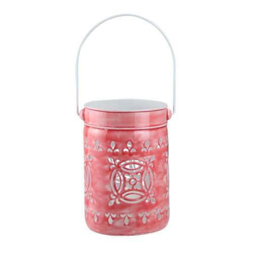 """7.5"""" L'Eau de Fleur Rose Pink Cut-Out Votive Candle Lantern - IMAGE 1"""
