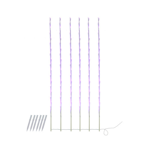Set of 6 108 Purple LED Branch Patio and Garden Christmas Light Stakes - 8.5 ft White Wire - IMAGE 1