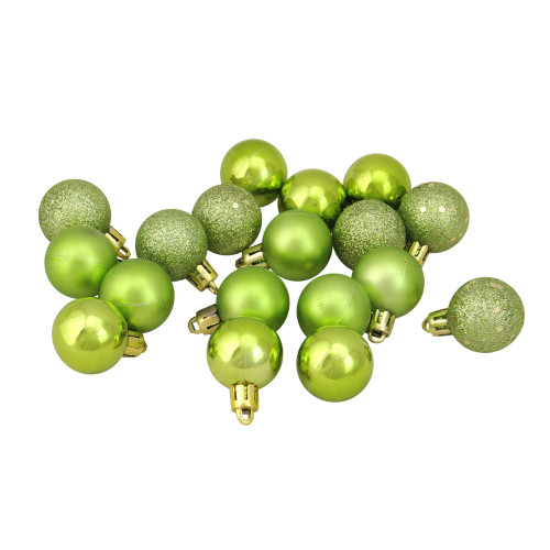 "18ct Kiwi Green Shatterproof 4-Finish Christmas Ball Ornaments 1.25"" (30mm) - IMAGE 1"