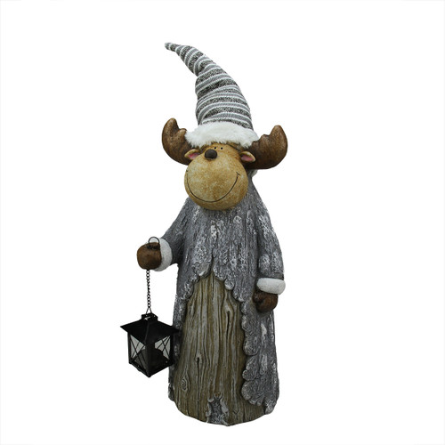 """27"""" Gray and Brown Rustic Finish Reindeer with Lantern Christmas Tabletop Figurine - IMAGE 1"""