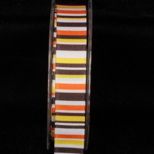 "Festive Orange and Brown Ingas Rainbow Grosgrain Craft Ribbon 1"" x 54 Yards - IMAGE 1"