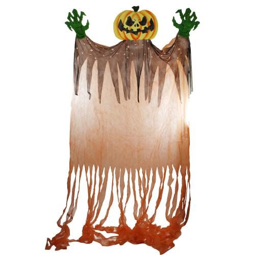 11' Orange and Green Scary Jack-O-Lantern Hanging Halloween Decoration - IMAGE 1