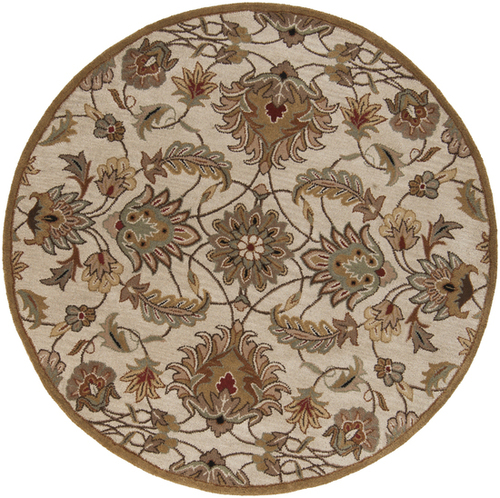 6' Taupe Brown and Gray Hand Tufted Wool Area Throw Rug - IMAGE 1