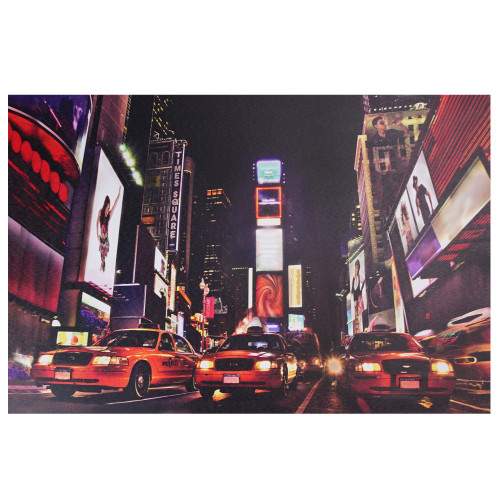 """LED Lighted NYC Times Square Broadway Taxi Cabs Canvas Wall Art 15.75"""" x 23.5"""" - IMAGE 1"""