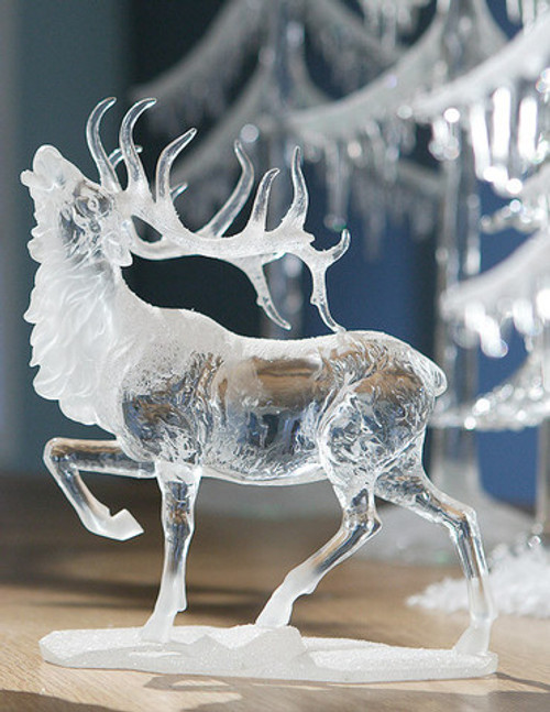 """Set of 4 Clear Icy Sculpture Caribou Figurines 8.75"""" - IMAGE 1"""