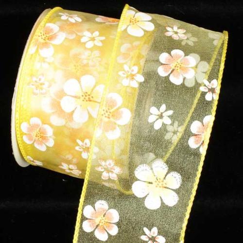 "Yellow Magnolia Wired Craft Ribbon 2.5"" x 40 Yards - IMAGE 1"