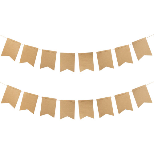 Club Pack of 12 Brown Pennant Ribbon Banners 18' - IMAGE 1