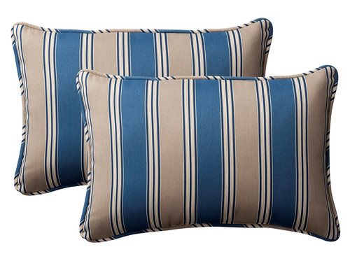 Set of 2 Blue and Tan Brown Striped Rectangular Outdoor Corded Throw Pillows 24.5-Inch - IMAGE 1