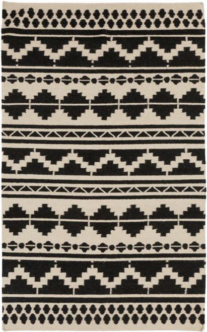 3.5' x 5.5' Black Hand-Woven Wool Area Throw Rug - IMAGE 1