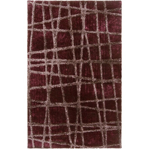 3.5' x 5.5' Eggplant Purple and Taupe Brown Hand Tufted Rectangular Area Throw Rug - IMAGE 1