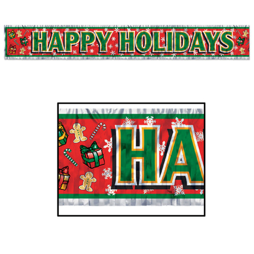 """Club Pack of 12 Red and Green Metallic """"Happy Holidays"""" Banner with Fringe Accents 5' - IMAGE 1"""