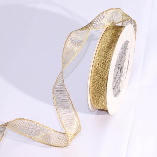 """Shimmering Metallic Gold Mesh Wired Craft Ribbon 1"""" x 54 Yards - IMAGE 1"""