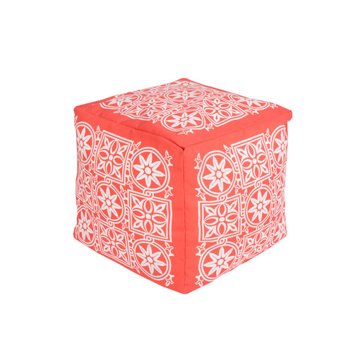 "18"" Coral Pink and Cream Encompassed Flowers Square Outdoor Patio Pouf Ottoman - IMAGE 1"