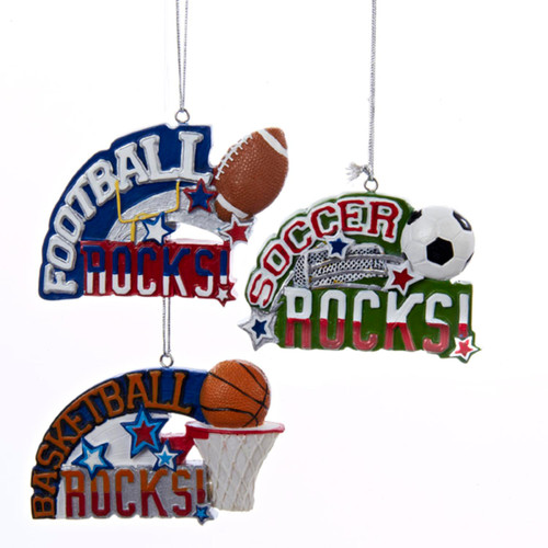 """3.5"""" Red, White and Green Soccer Rocks Sports Christmas Ornament - IMAGE 1"""