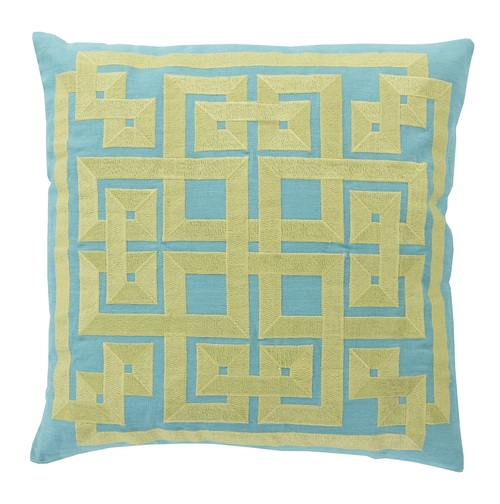 """20"""" Turquoise Blue and Lime Green Square Throw Pillow - IMAGE 1"""